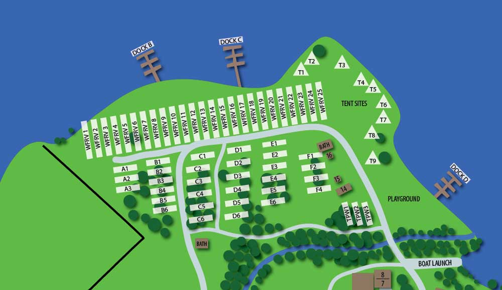 RV Park Black Beach Resort Map