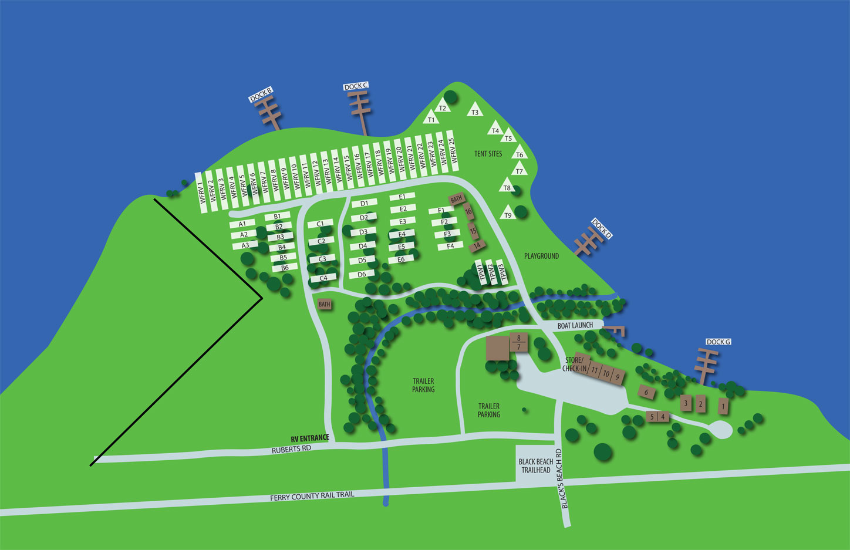 RV Park Black Beach Resort Map